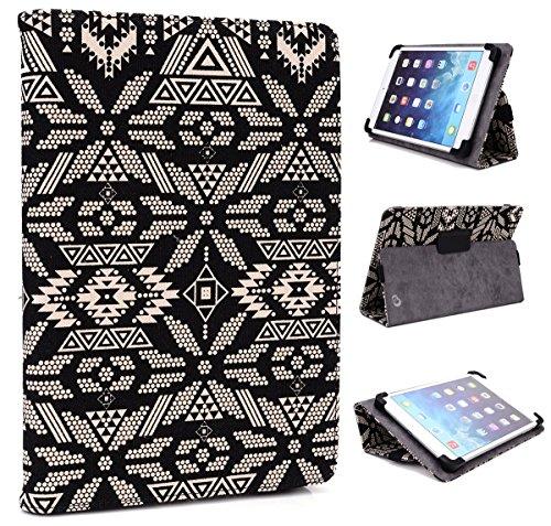 Samsung Galaxy Tab 3 & Tab 3 Lite ( 7 inch ) : Colorful Pattern Slim Cover Case w/Kick Stand :: NuVur ™ Black Floral Tribal
