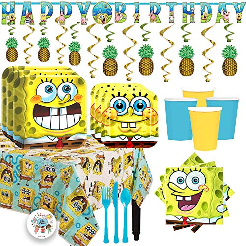 Deluxe Spongebob Squarepants Birthday Party Supplies Pack For 16 With Dinner and Dessert Plates, Napkins, Cups, Tablecover, Cutlery, Add-An-Age Banner, Pineapple Swirls, and Exclusive Pin ()