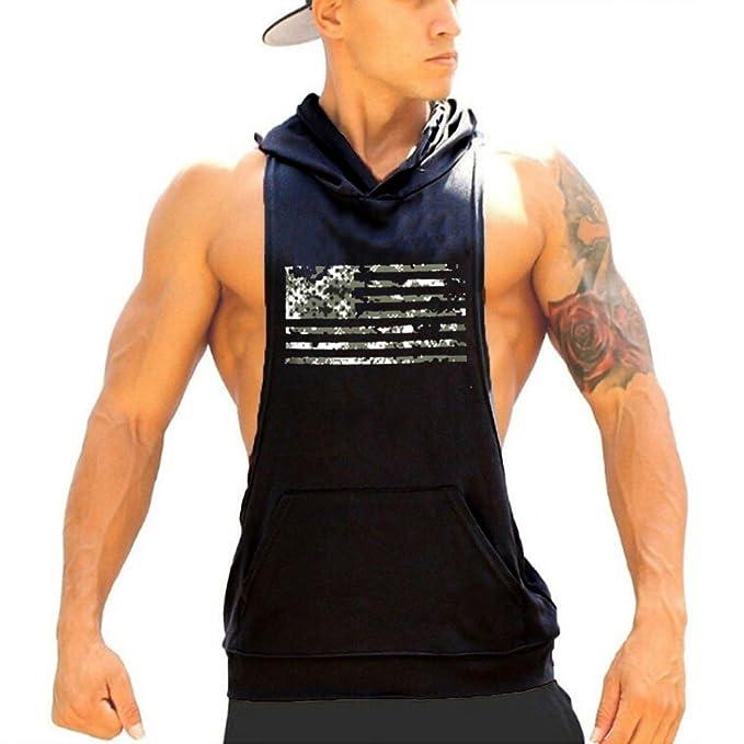 efdb5f5792c284 HEARTISIAN Men Sleeveless Fitness Hoodie Gym Vest Bodybuilding Tank Top  with Kangaroo Pocket(Black-