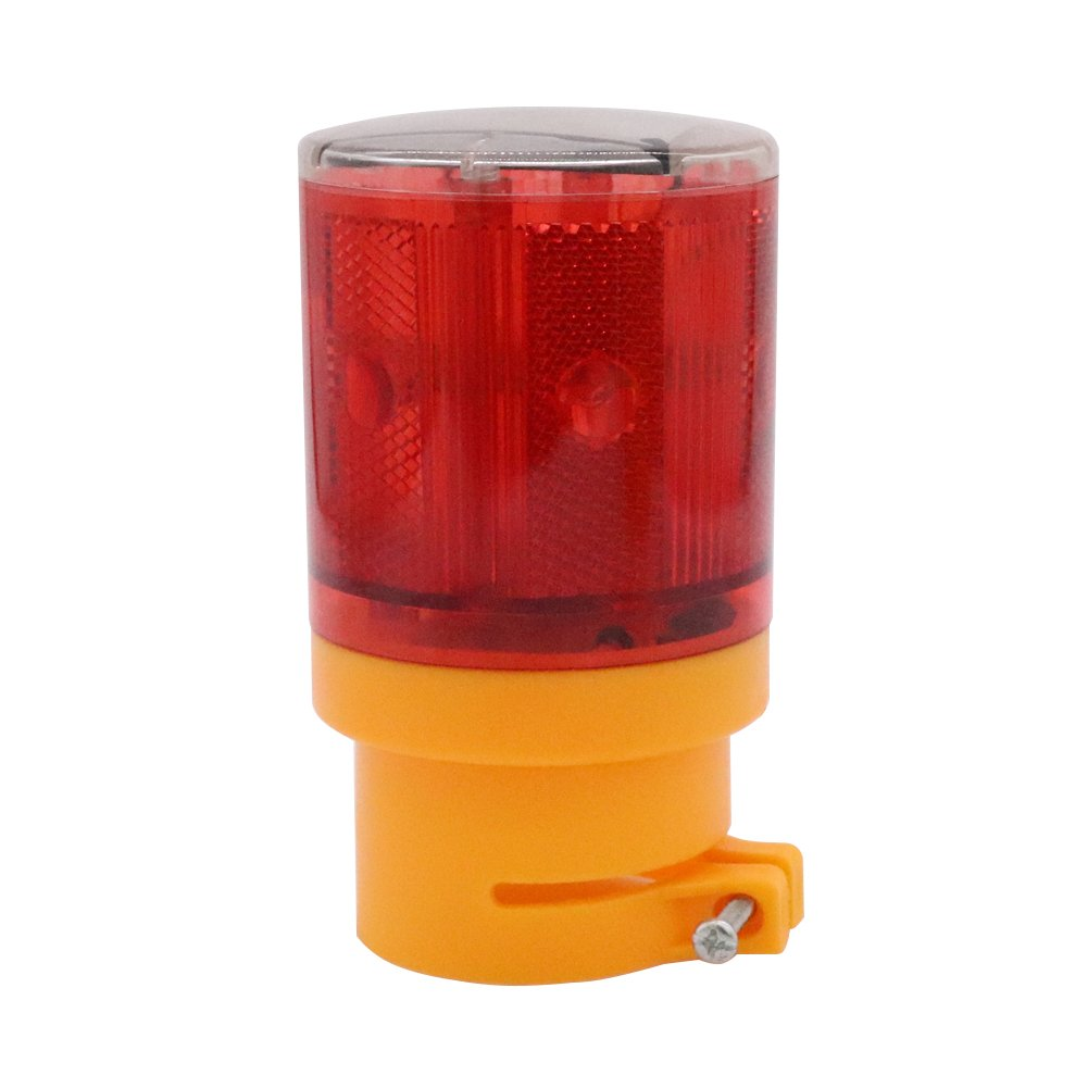 Aolyty Solar Warning Flashing Light Wireless Strobe Construction Safety Barricade Traffic Waterproof IP65 Signal Beacon Automatically Turn on Lamp (Amber)