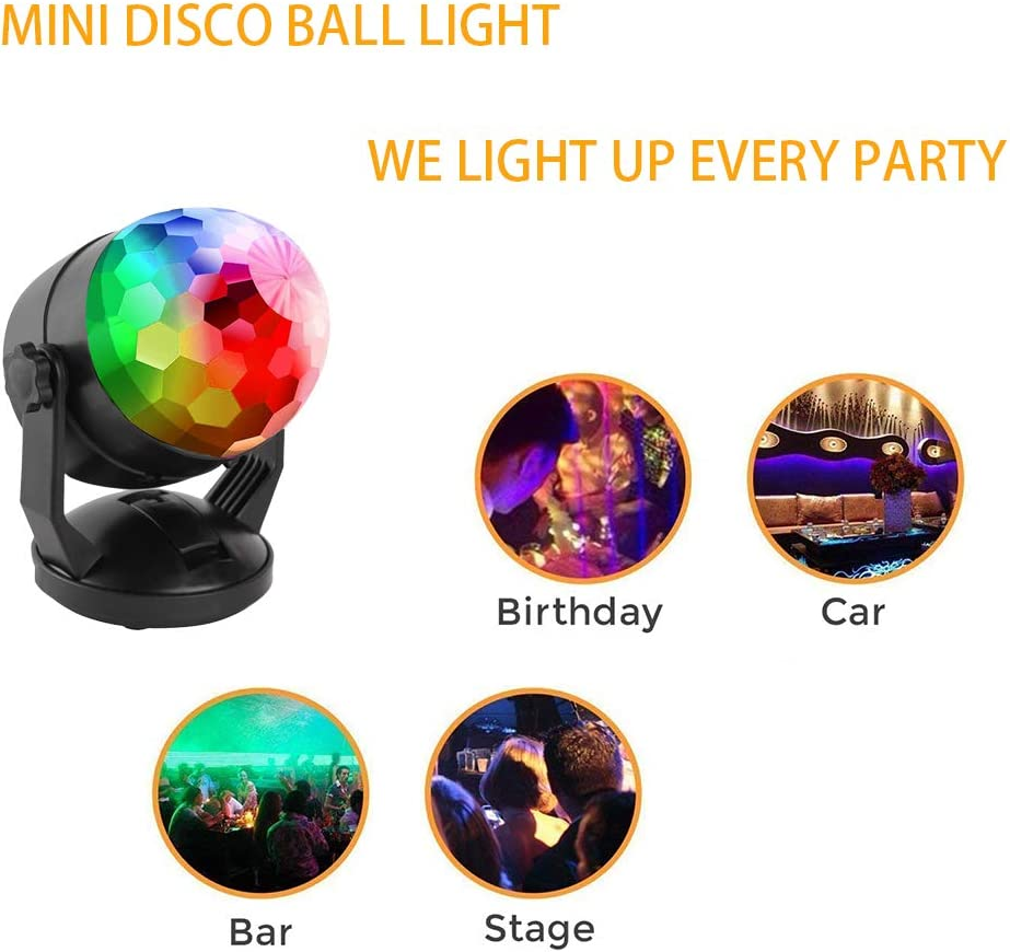 Mini son Activated Party Lights aliment/é par batterie//USB Portable RGB Disco Ball lumi/ère Dj /éclairage stroboscopique lampe 7 Modes sc/ène Par Lumi/ère pour la voiture Accueil Salle de danse F/êtes d