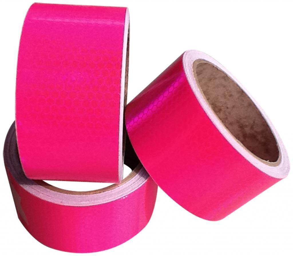 50/mm x 5/m Cinta adhesiva reflectante de alta visibilidad color rosa