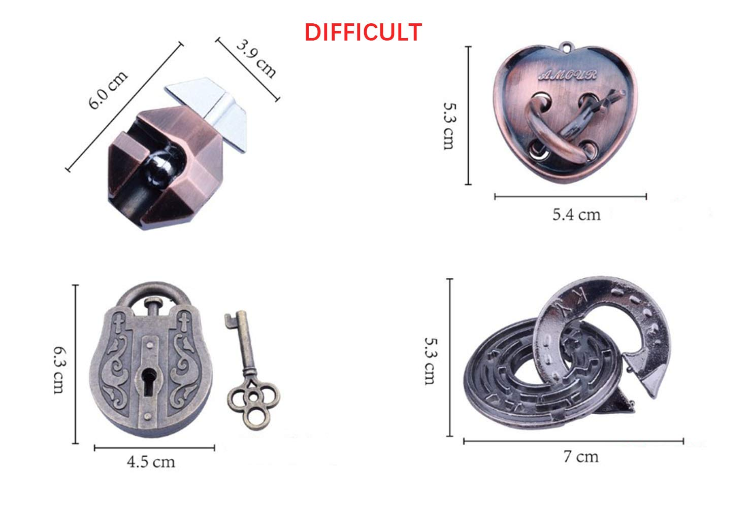Metal hole lock adult childrens educational toys Luban lock Metal Puzzles Brain Teaser Set IQ Disentanglement Toy Pack Magic Trick Game Lock Iron Wire Link Unlock Ring Gift Bundle Educational for Kids Adult Challenge L