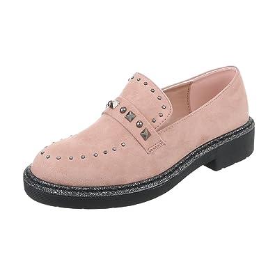 Zapatos para mujer Mocasines Tacón ancho Slipper Rosa Tamaño 41