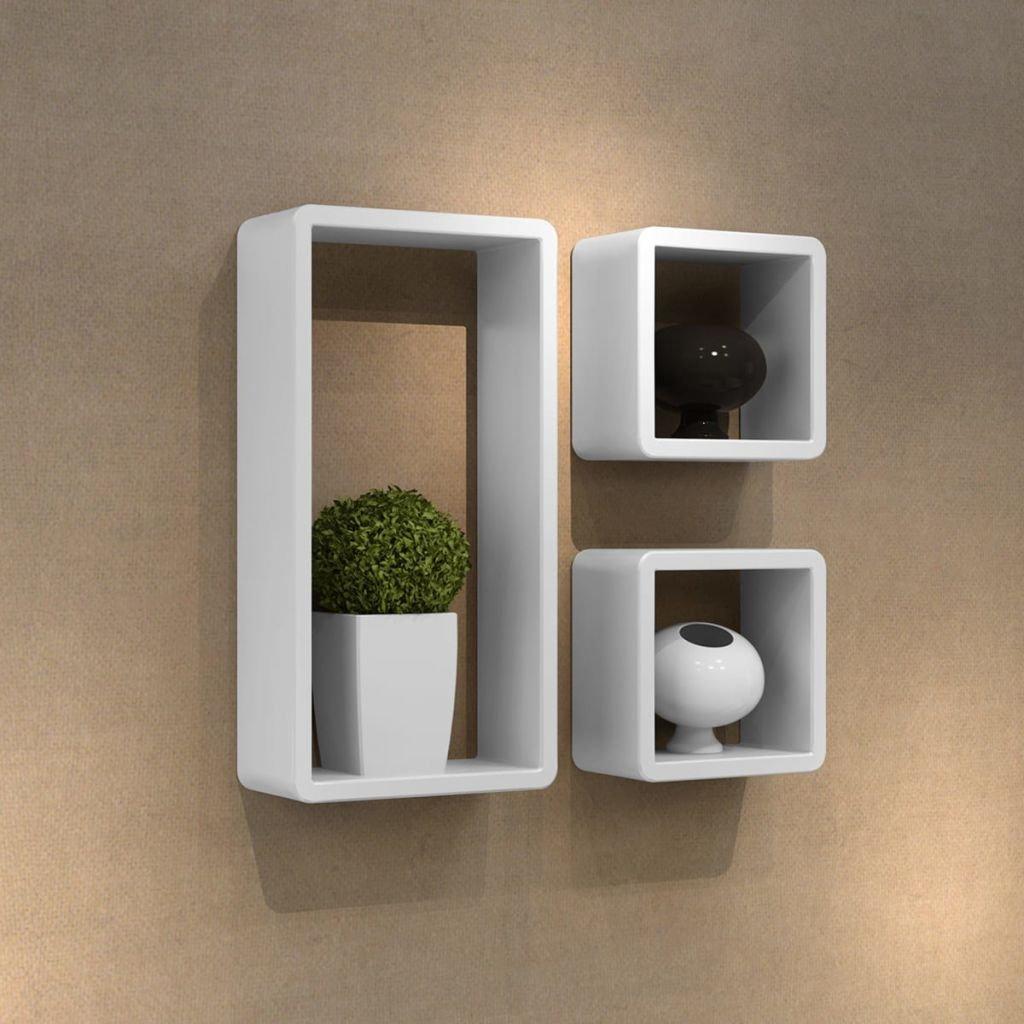 SENLUOWX Mensole Design da parete 3cubi bianco e MDF 42x 22x 10