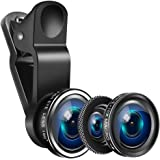 Yarrashop Mobile Phone Camera Lens Kit iPhone Lens With Fish Eye Lens +Macro Lens + Wide Angle Lens for iPhone 8/7/6/6s Plus/5s/SE, Samsung S9/S8/S7/S6, Huawei, iPad,Snoy etc (3 in 1,Black)