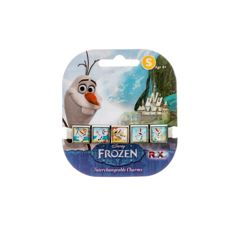 Roxo Disney Frozen Olaf 5 Charm Bracelet With White Glow Wristband-5 Charms Glow in Dark Bracelet Showing Olaf Enjoying Spring and Summer Weather! RX5990