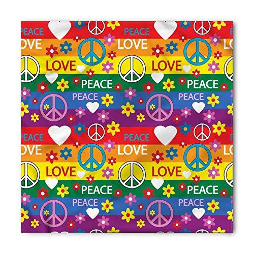 - Ambesonne Unisex Bandana, Groovy Heart Peace Icon Festive, Rainbow Colors