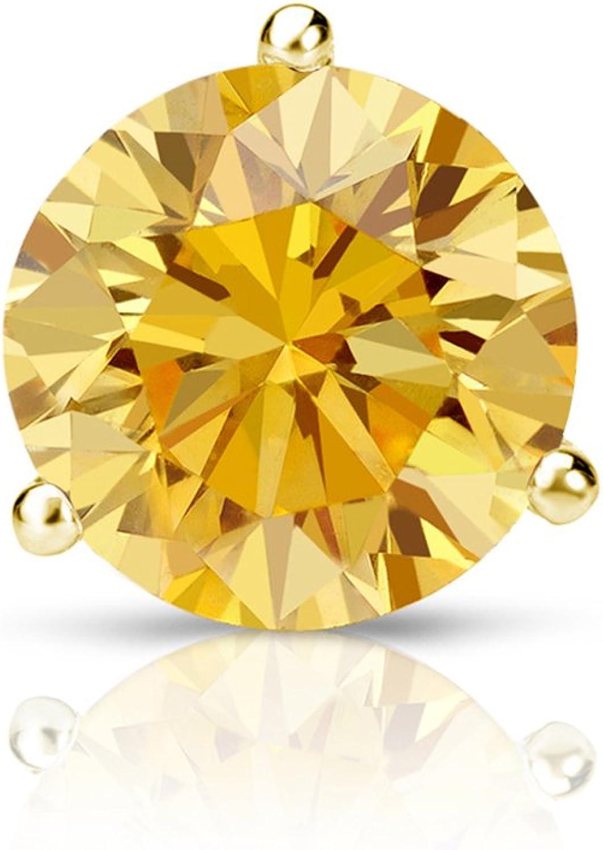 Push-Back 1//8 to 1 carat TW, I1-I2 Diamond Wish 14k Yellow Gold Round SINGLE STUD Yellow Diamond Earring 3-Prong Martini