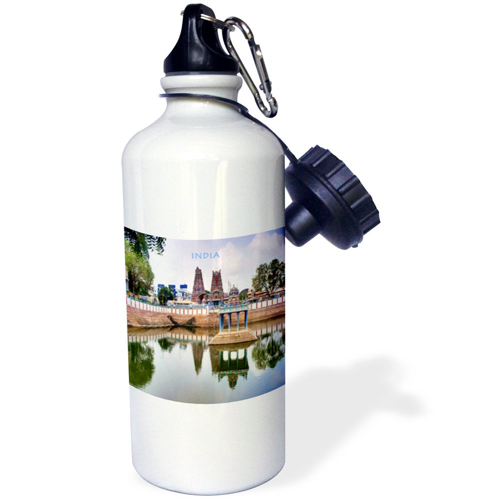 3dRose wb_80276_1 ''Hindu Temple In India'' Sports Water Bottle, 21 oz, White