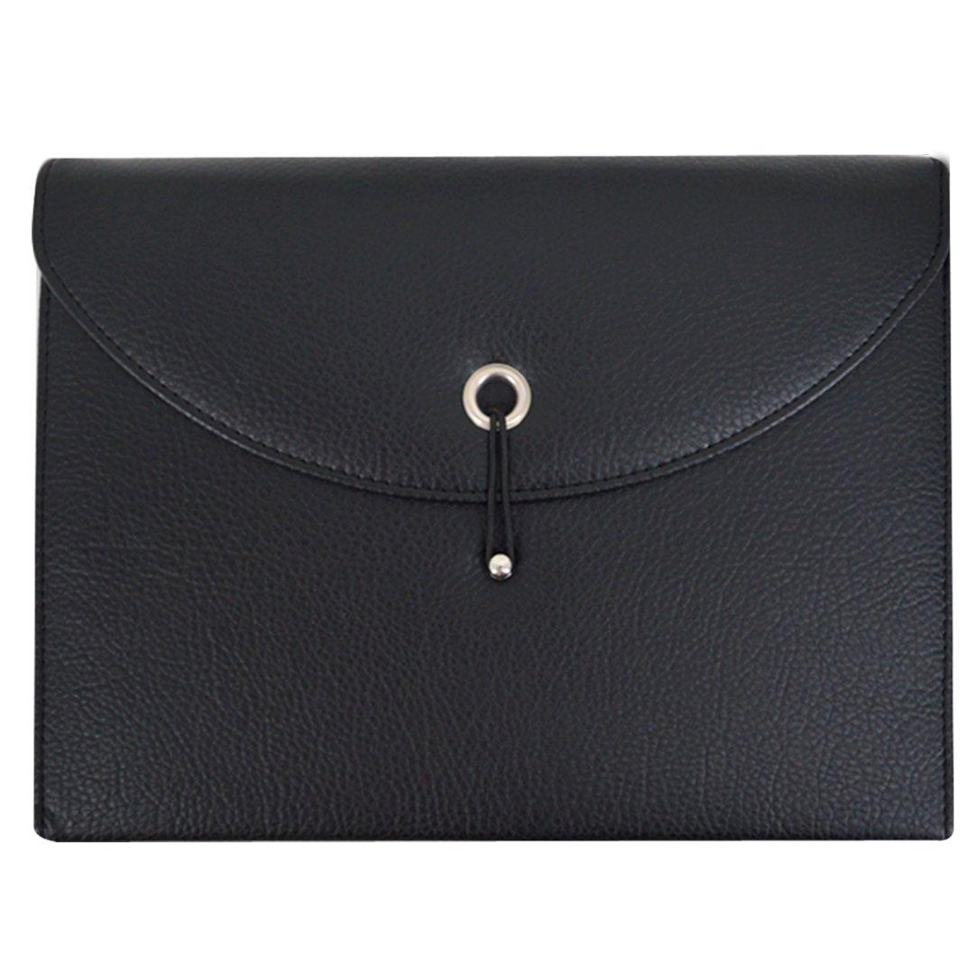 Amily PU Leather Expanding File Portable Accordion Document Folder Organizer (Black Black)
