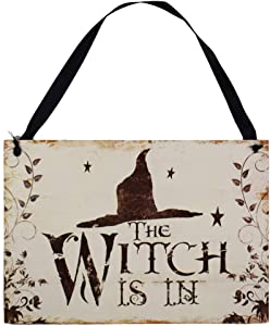 LaZimnInc Halloween Hanging Welcome Sign, The Witch is in, Wooden Hanging Plaques for Door Window Bar Shopping Malls Halloween Decorations