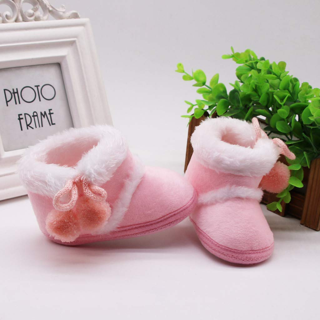 Winter Warm Boots for Baby Girls 0-6 Years Floral Embroidery Fur Flock Rubber Sole Sneaker Shoes