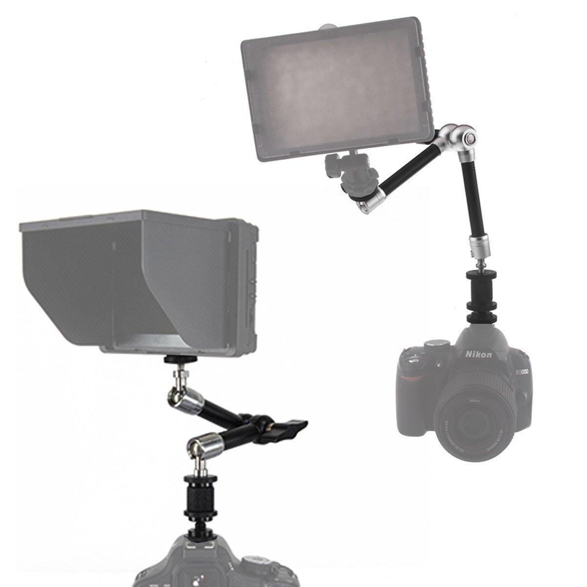 Magic Arm, CAM-ULATA 7 Zoll Einstellbar Reibung Articulating Magic Arm für Hot Shoe Mount DSLR Kamera Rig LCD DV Monitor / LED Leuchtet Taschenlampe Dolly Auto, Silber, 18cm / 7 \