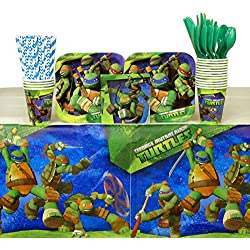 Cedar Crate Market Teenage Mutant Ninja Turtles Party Pack for 16 Guests: Straws, Plates, Napkins, Cups, Cutlery, and Table Cover (Bundle for 16)