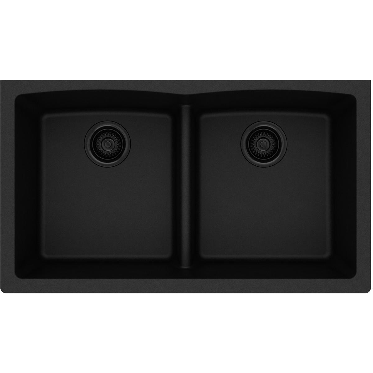Elkay Quartz Classic ELGDULB3322BK0 Black Equal Double Bowl Undermount Sink