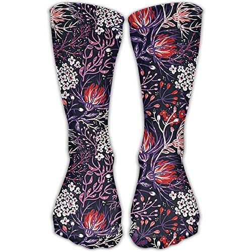 Hue Men Dress - HUE Flowers Men Women Novelty Crew Socks Cotton Socks Multicolored Pattern Ankle Dress Socks