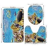 3 Piece Bathroom Mat Set,Ocean,Tropical Exotic Coral Reefs Fish School Jellyfish Underwater Wild Marine Life Theme,Multicolor,Bath Mat,Bathroom Carpet Rug,Non-Slip
