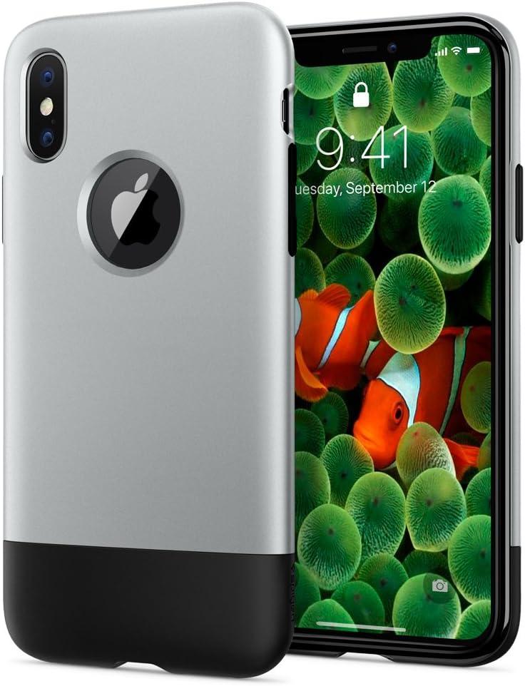 Spigen Classic C1 [10th Anniversary Limited Edition] [Retro] Designed for iPhone X Case (2017) - Aluminum Gray