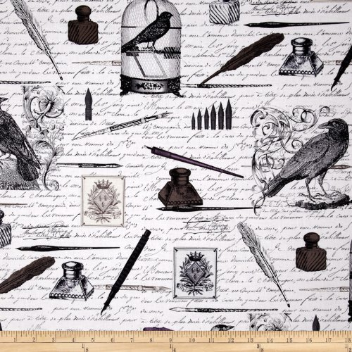 michael-miller-nevermore-collection-old-script-urban-grit-black-fabric-by-the-yard
