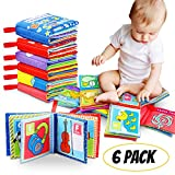 Cloth Book Baby, Tencoz Baby's First Non-Toxic Soft Cloth Book Set Infant Children Educational Toys Baby Gifts for Boy Girl Colorful-Pack of 6 (Friction with a rustling Sound)