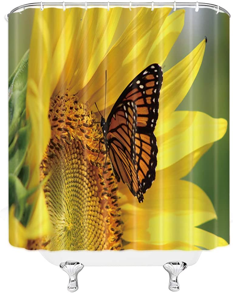 Sunflower Butterfly Shower Curtain Spring Yellow Flower Plant Bathroom Decor Background Waterproof Polyester Fabric Home Bath Decor Accessories Hanging Curtains Sets 69 x 70 Inch With Hooks