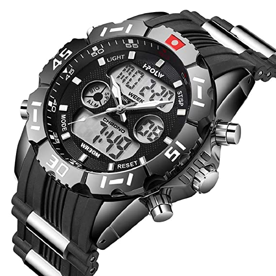 Reloj Digital analógico Deportivo para Hombre, Resistente al Agua, electrónico, LED, Calendario Militar, cronómetro, cronógrafo: Amazon.es: Relojes