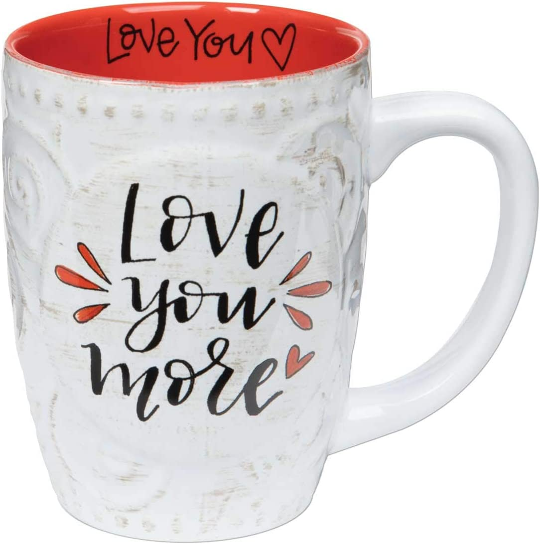 Brownlow Gifts Simple Inspirations Ceramic Floral Gift Mug, 16-Ounces, Love You More