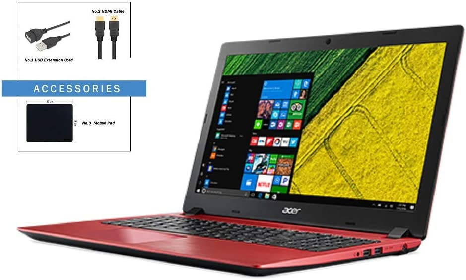 Acer Aspire 3 15.6 inch FHD Flagship Premium Laptop w/ Accessories | Intel Core i3-8130U | 4GB +16Goptane | 1TB HDD | Bluetooth | HDMI | Ethernet | WiFi | Red | Windows 10