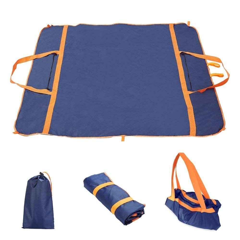 Sysmarts Picnic Blanket, Outdoor Waterproof Picnic Mat Multifunctional Foldable Lightweight Large Bag for Outdoor,Travel,Mountaineering,Beach,Camping 57'' x 57'' (Dark Blue)
