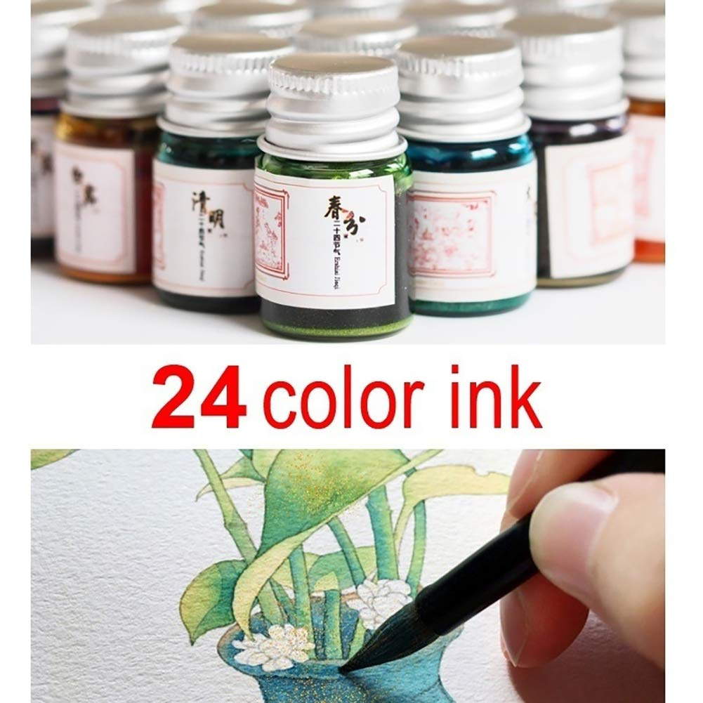 Baost 5ML Colored Calligraphy Ink Writing Painting Drawing Ink Fountain Pen Ink with Glitter Powder Glitter Art Paint Brush Pigment for Graffiti, Oil Painting, Calligraphy F by BaoST (Image #4)