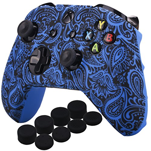 (YoRHa Printing Rubber Silicone Cover Skin Case for Xbox One S/X Controller x 1(Flowers&blue) With PRO Thumb Grips x 8)