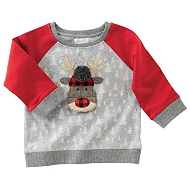 56547bfe9 Amazon.com: Mud Pie Toddler Boy Christmas Gray Alpine Village Sweatshirt  (Small, 12-18 Months, Reindeer): Clothing