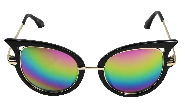 Basik Eyewear - Womens Designer Round Winged Mirrored Cat Eye Sunglasses