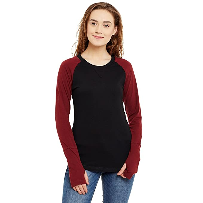 88a0fea5668 Hypernation Black and Maroon Color Round Neck Thumb Insert Cotton T-Shirt  for Women  Amazon.in  Clothing   Accessories