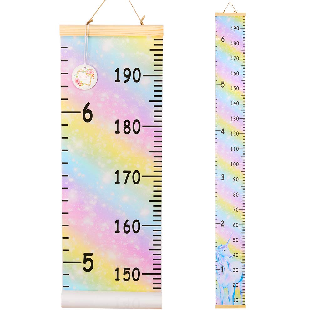 QtGirl Kids Growth Chart, Height Chart for Child Height Measurement Wall Hanging Rulers Room Decoration for Girls, Boys, Toddlers(Unicorn)