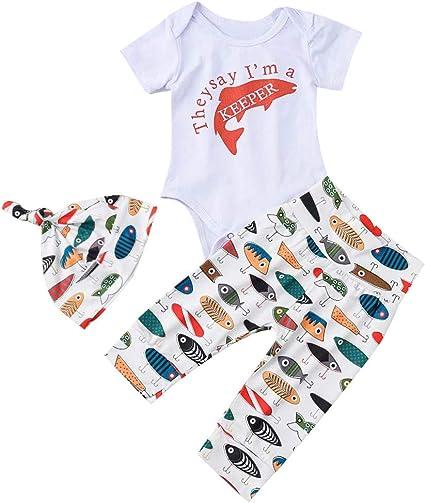 Veyikdg Newborn Baby Girls Boys Letter Long Sleeve Romper Bodysuit+Cartoon Dinosaur Pants+Hat 3pcs Clothes Outfits Set