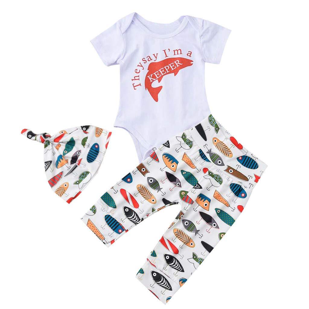 Unisex Baby Summer Set,Jchen Infant Boy Letter Short Sleeve Romper +Cartoon Fish Print Pants+Hats Outfits for 0-24 Months (Age:0-6 Months, White)