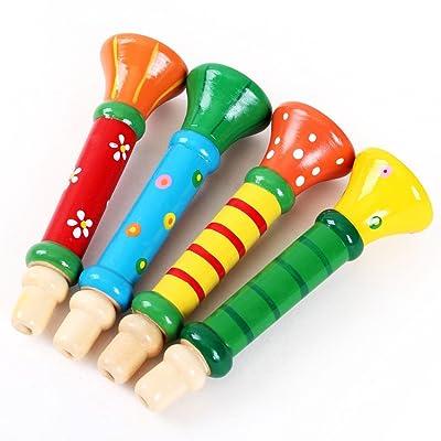 Jouets pour bébé,Fulltime®1PC Bébé multicolore en bois corne Hooter trompette Instruments de musique jouets