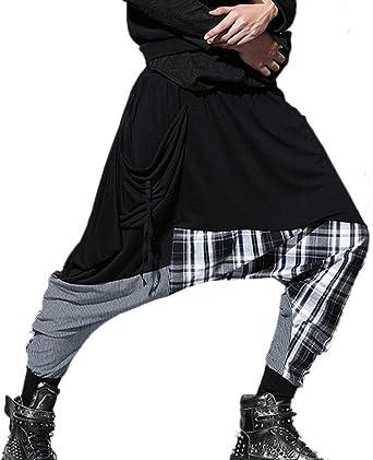 Panegy Pantalon Sarouel Homme Lâche Elastique en Coton Printemp Automne  Harem Jogging Danse Hip Hop Sports 103c8fce887