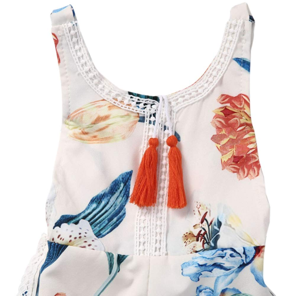 Soly Teche Baby Girls Floral Print Sleeveless Backless Jumpsuit Summer Bohemia Beach Shorts