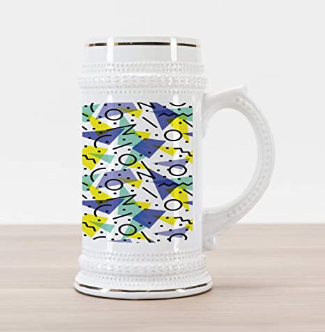 Ambesonne Modern Beer Stein Mug, Geometrical Retro 80s Themed Image With  Lines Circles And Spots