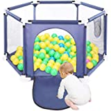 Baby Playpen Foldable Baby Kids Play pens 6 Panel Kids Activity Center Room Fitted Floor, Color Blue