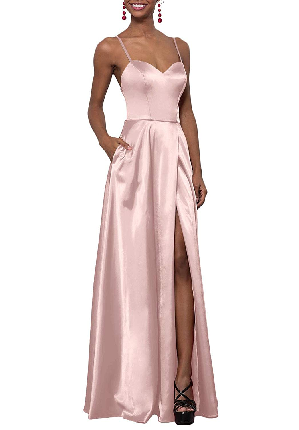 Pastel Pink YUSHENGSM Women's Sweetheart CorsetBack Satin Prom Dress Long Evening Party Gown Pockets