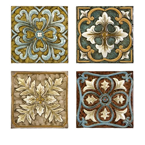 CC Home Furnishings Set of 4 Multi-Colored Italian Inspired Decorative Medallion Wall Tiles
