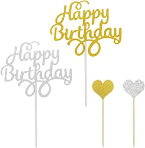 20 Pack Happy Birthday Cake Toppers,YuCool Birthday Party Decorations Glitter Letters with 10 Pack Heart Shape Decor Sticks-Gold and Silver