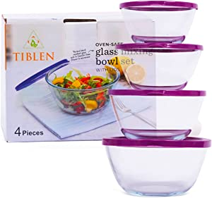 TIBLEN [4-Pack] Glass Mixing Round Bowl Set, Nesting Glass Bowls Food Storage Containers with Lids, Meal Prep Containers with Lids for Kitchen, Home Use, Safe for Microwave,Freezer, BPA Free