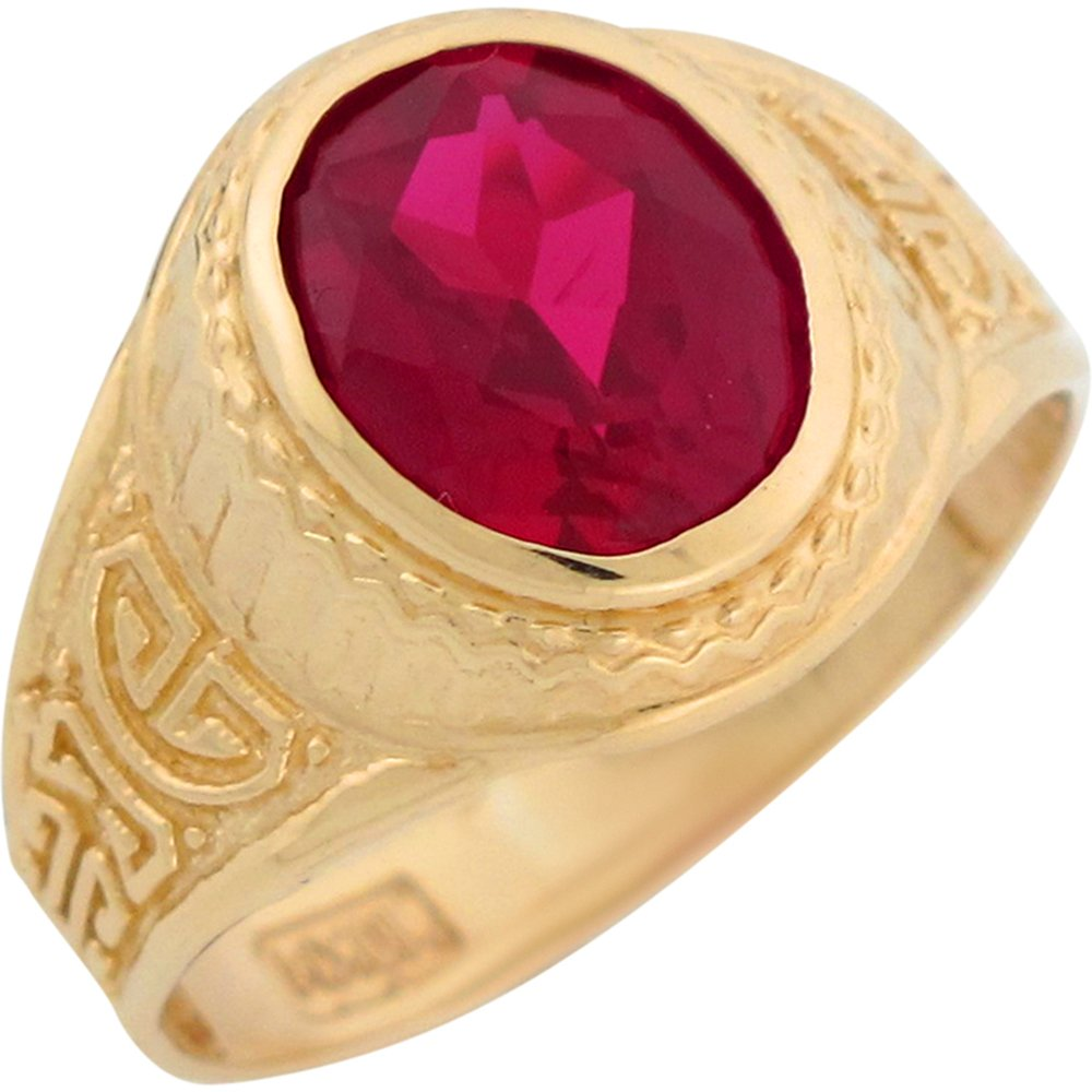 10k Yellow Gold Simulated Ruby Greek Design July Birthstone Mens Ring
