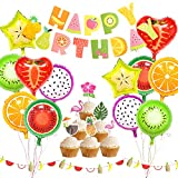 Tutti Frutti Party Decorations Fruit Happy Birthday Banner Fruit Balloons Cupcake Toppers for Birthday Luau Fruit Themed Party