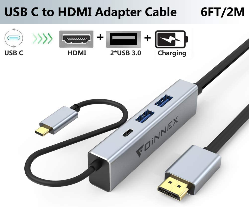 USB C HDMI Cable,Charging Power PD,USB 3.0.Dex Station/Pad for Samsung Dex Galaxy S10,S9,S8 Plus,Note 10/9/8,MacBook Pro 2018,Nintendo Switch,Surface Go/Pro 7.Type C to TV/Monitor Adapter/Hub Cord 4K